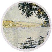 View Of The Seine At Herblay     Round Beach Towel