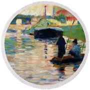 View Of The Seine - Digital Remastered Edition Round Beach Towel