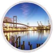 Vincent Thomas Bridge Round Beach Towel