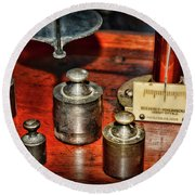 Vintage Apothecary Pharmacist Weights And Scale Round Beach Towel