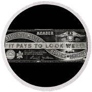 Vintage Associated Master Barber Sign Black And White Round Beach Towel