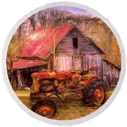 Vintage At The Farm Watercolors Painting Round Beach Towel
