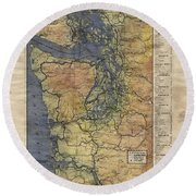 Vintage Auto Map Western Washington Olympic Peninsula Hand Painted Round Beach Towel
