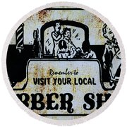 Vintage Barber Sign From The 1950s Round Beach Towel