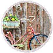 Vintage Bicycles Round Beach Towel