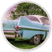 Vintage Blue Caddy American Vintage Car Round Beach Towel