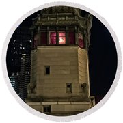 Vintage Chicago Bridge Tower At Night Round Beach Towel