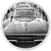 Vintage Corvette Round Beach Towel