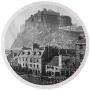 Vintage Edinburgh Castle - Scotland Round Beach Towel by Digital Reproductions