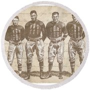 Vintage Football Heroes Round Beach Towel by Clint Hansen