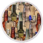 Vintage Glass Bottles Collage Round Beach Towel