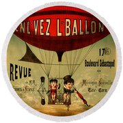 Vintage Hot Air Balloon Round Beach Towel