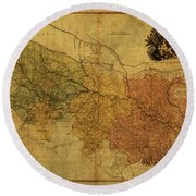 Vintage Map Of Bengal Round Beach Towel