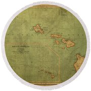 Vintage Map Of Hawaii Round Beach Towel