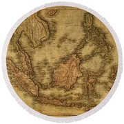 Vintage Map Of Indonesia 1818 Round Beach Towel
