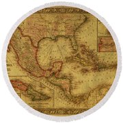 Vintage Map Of Mexico Round Beach Towel