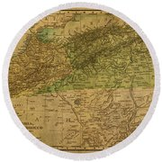 Vintage Map Of North Africa Including Morocco Algeria And Tunisia 1901 Round Beach Towel