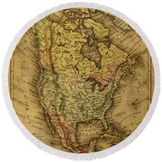 Vintage Map Of North America 1858 Round Beach Towel