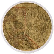 Vintage Map Of Northern California Round Beach Towel