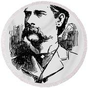 Vintage Newspaper Wyatt Earp Portrait 1896 - T-shirt Round Beach Towel