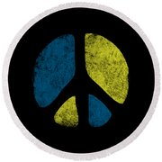 Vintage Peace Sign Round Beach Towel