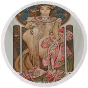 Vintage Poster - Champagne Round Beach Towel