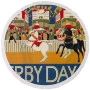 Vintage Poster - Derby Day Round Beach Towel