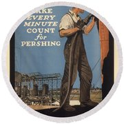Vintage Poster - Make Every Minute Count Round Beach Towel