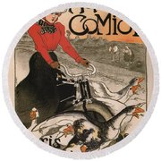 Vintage Poster - Motocycles Comiot Round Beach Towel