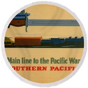 Vintage Poster - Southern Pacific Round Beach Towel