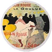 Vintage Poster - Toulouse Lautrec Round Beach Towel