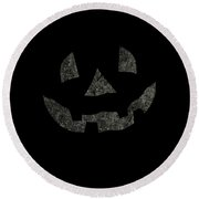 Vintage Pumpkin Face Round Beach Towel