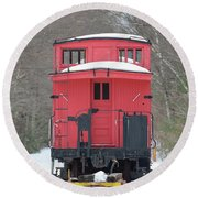 Vintage Red Caboose In Winter Round Beach Towel