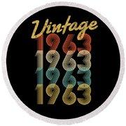 Vintage Retro Since 1963 Birthday Gift Round Beach Towel