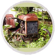 Vintage Rusted Tractor Round Beach Towel
