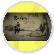 Vintage San Antonio Advertisement Round Beach Towel