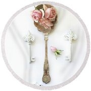 Vintage Spoon Floral Wall Art - Antique Spoon White Shabby Chic Cottage Kitchen Wall Art Home Decor Round Beach Towel