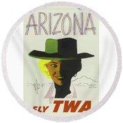 Vintage Travel Poster Arizona 3 Round Beach Towel