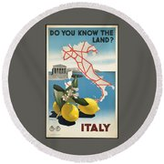 Vintage Travel Poster - Italy Round Beach Towel