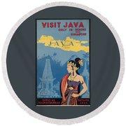 Vintage Travel Poster - Java Round Beach Towel