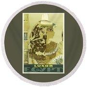 Vintage Travel Poster - Luxor, Egypt Round Beach Towel