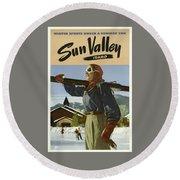 Vintage Travel Poster - Sun Valley, Idaho Round Beach Towel