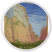 Vintage Zion Travel Poster Round Beach Towel