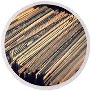 Vinyl Records Round Beach Towel