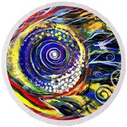 Violet Fish On Red And Yellow Round Beach Towel