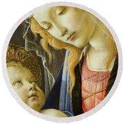 Virgin And Child Renaissance Catholic Art Round Beach Towel