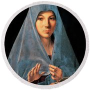 Virgin Of Annunciation Painting By Antonello Di Antonio Dit Antonello Da Messina Round Beach Towel