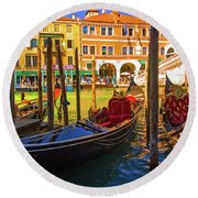 Visions Of Venice Round Beach Towel
