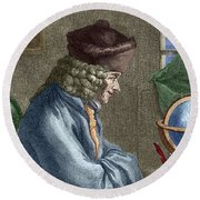 Voltaire In His Office In Vernay Round Beach Towel
