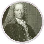 Voltaire Portrait, Engraving Round Beach Towel